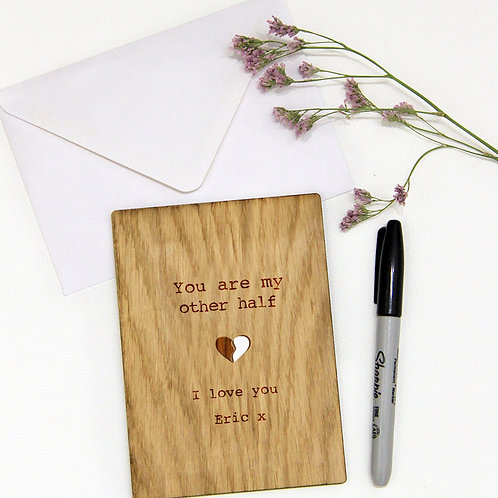 Personalised Wooden Card, You Are My Other Half