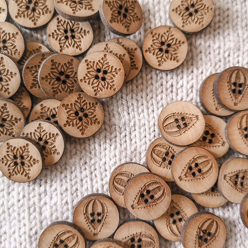 Custom Wooden Buttons with Text 2cm WALNUT