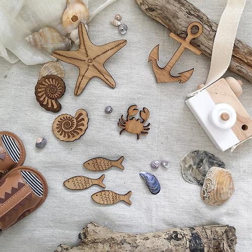 Oak Wooden Sea Creatures Photography Props, Anchor Starfish Crab Fish Shells