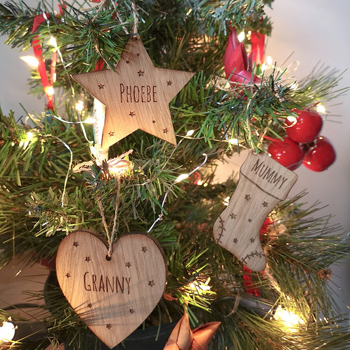 Personalised Christmas Tree Decorations with Stars - Stocking/Star/Heart/Tree