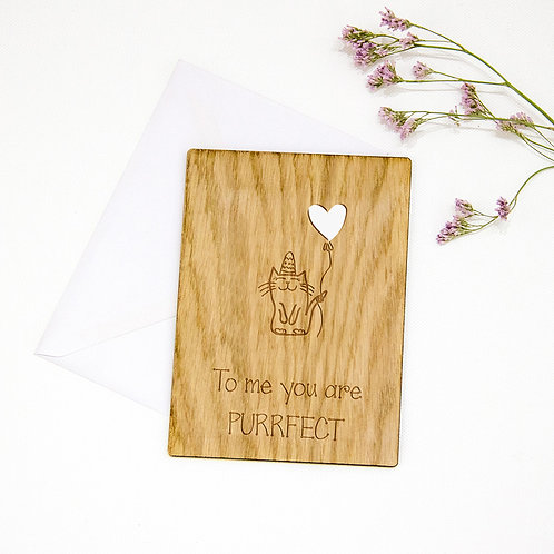 Personalised Birthday Wooden Card with Cat, Purrfect
