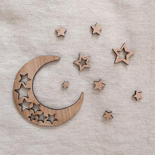 Oak Moon & Stars Wooden Photography Props