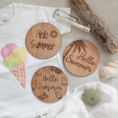 Hello Summer Discs LARGER Oak Wooden Photography Props