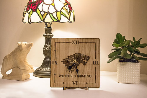 Game of Thrones Inspired Clock, House Stark Clock, Winter is Coming Clock