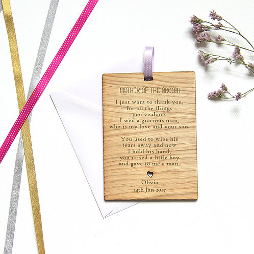 Personalised Mother of the Groom Wooden Card, Wedding Favour Gift
