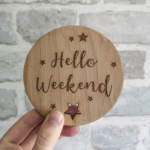 Hello Weekend Disc Oak Wooden Photography Props