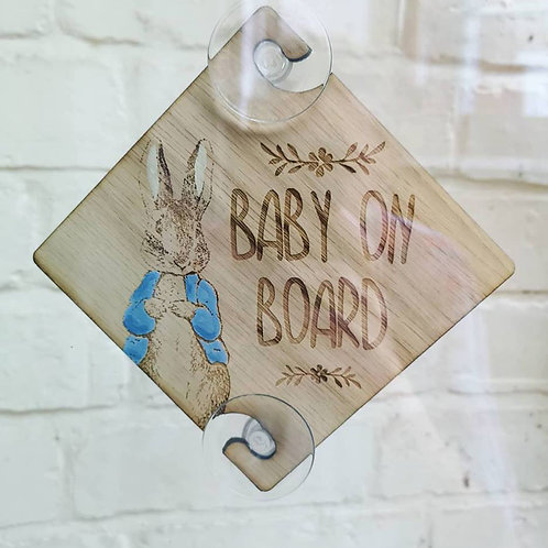 Peter Rabbit Baby on Board Sign for Car