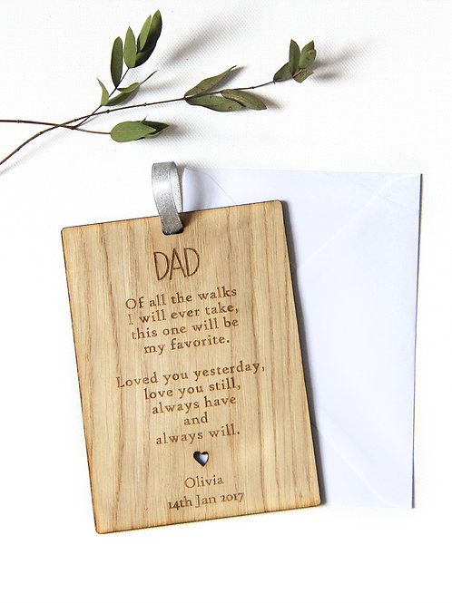 Personalised Father of the Bride Wooden Card, Wedding Favour Gift