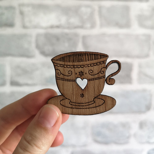 Oak Vintage Tea Cup / Coffee Cup Photography Props Flatlay, Wooden Decoration