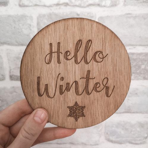 Hello Winter Disc Oak Wooden Photography Props 2 sizes