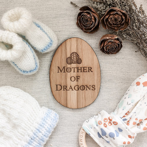 Mother of Dragons Wooden Egg Disc Oak Wooden Photography Props