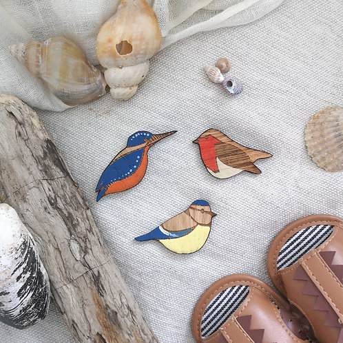 Painted Birds Kingfisher / Robin / Blue Tit Photography Props Flatlay