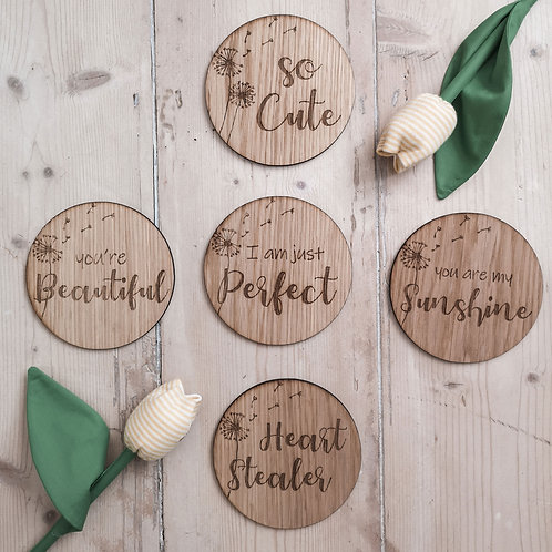 Wooden Dandelion Discs, LARGER Oak Photography Props