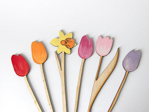 Wooden Flowers, Tulips & Daffodils Flatlay Photography Props