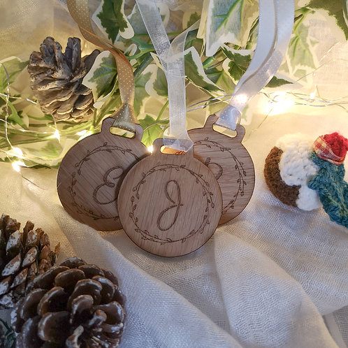 Personalised Family Baubles with Initials or Names, Oak Wooden Bauble