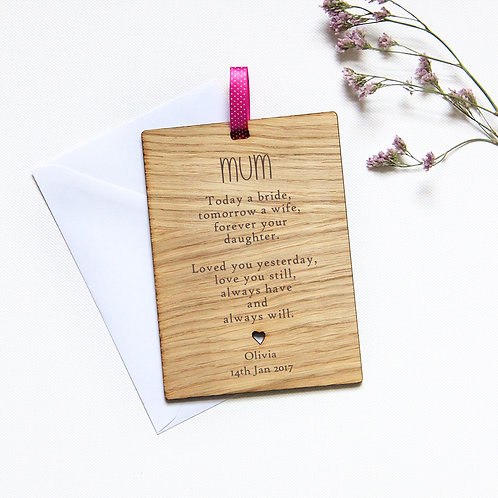 Personalised Mother of the Bride Wooden Card, Wedding Favour Gift