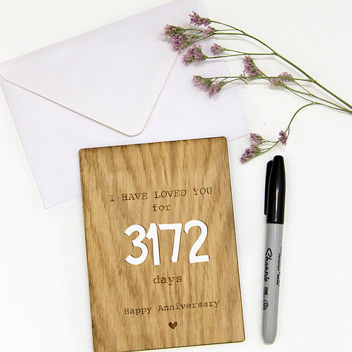 Personalised Wooden Card with Countdown, Anniversary Card