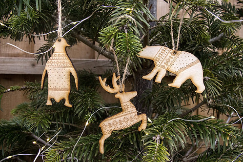 Christmas Tree Decorations, Reindeer / Polar Bear / Penguin In Jumper