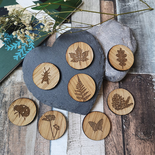 Nature Coins/Magnet Set, Activity for Kids, Flatlay Props