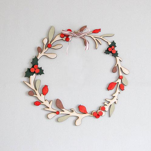 Christmas Door Wreath, Wooden Christmas Wreath