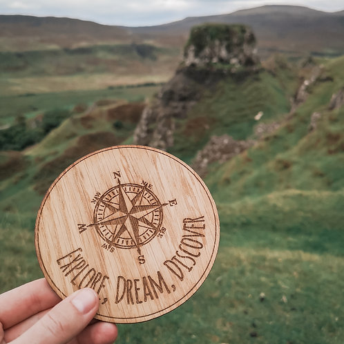 Explore Dream Discover Disc Oak Wooden Photography Props 2 sizes