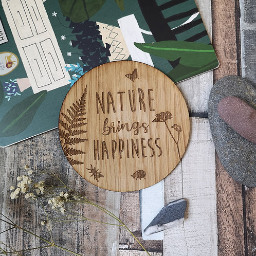 Nature Brings Happiness Disc Oak Wooden Photography Props 2 sizes