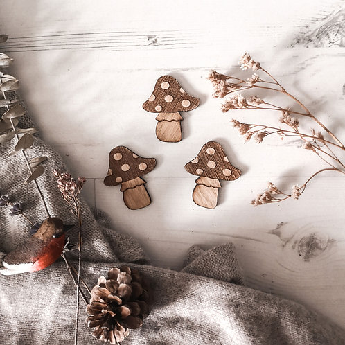 Mushrooms Toadstool Oak Photography Props Flatlay, Wooden Decoration