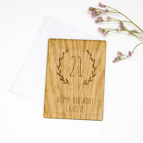 Unique Birthday Card, Engraved Wooden Card with Laurel Wreath