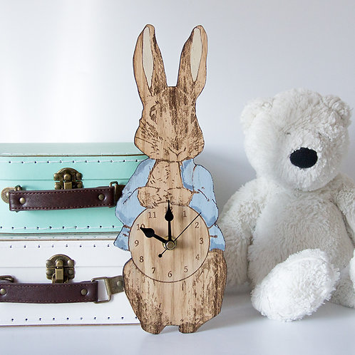 Peter Rabbit Clock, Nursery Clocks, Baby Shower Gift, Children's Clocks