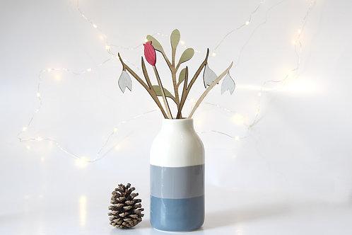 Set of Wooden Winter Flowers, Gift for Mum