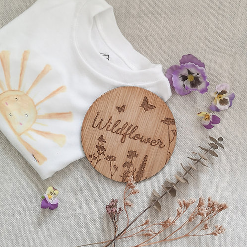 Wildflower Disc LARGER Oak Wooden Photography Props