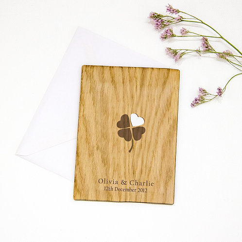 Personalised Engagement Card with Clover Leaf