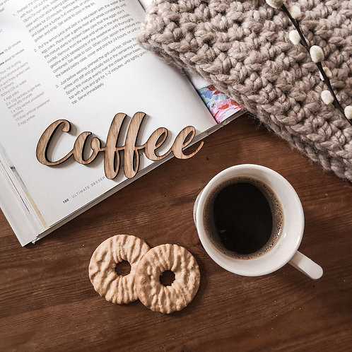 Coffee Oak Wooden Sign Flatlay Photography Prop