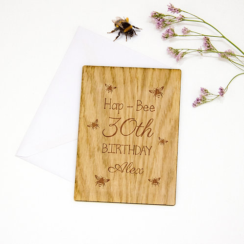 Personalised Wooden Birthday Card, 18 / 20 / 30 / 40 / 50