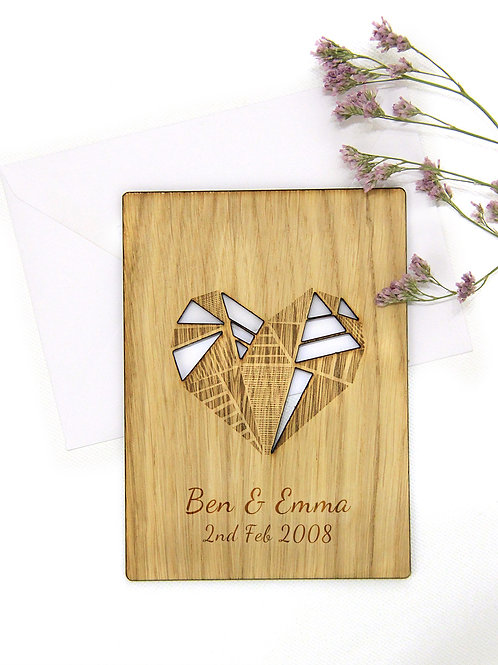 Personalised Wooden Heart with Geometric Heart, 5th Wooden Anniversary