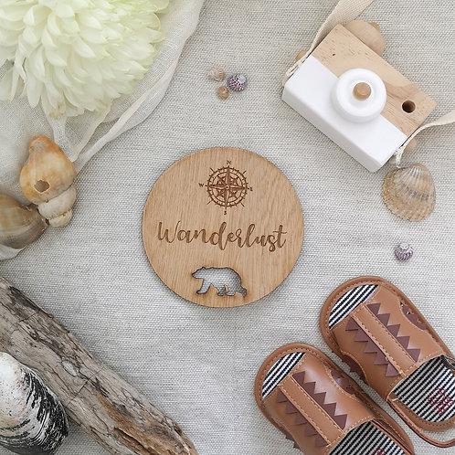 Wanderlust Disc LARGER Oak Wooden Photography Props