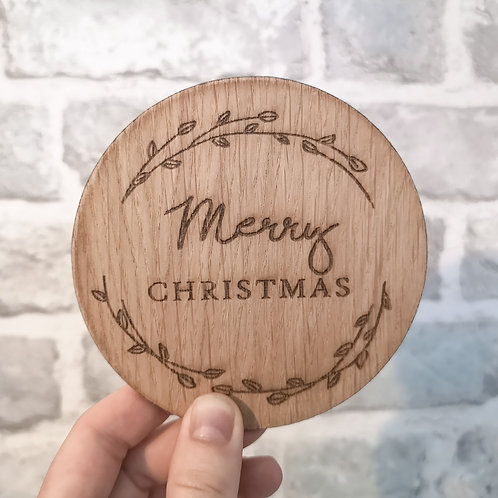 Merry Christmas Disc Oak Wooden Photography Props 2 sizes