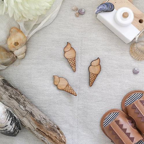 Oak Icecream Photography Props Flatlay, Wooden Decoration