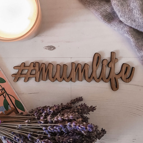 #Mumlife Oak Wooden Sign Flatlay Photography Prop