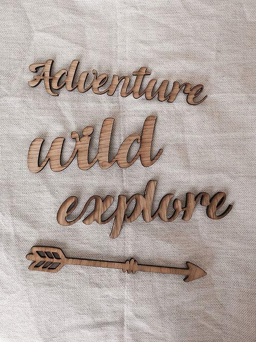 Oak Wooden Adventure / Wild / Explore / Arrow Flatlay Photography Props
