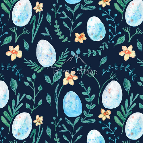 Colour Exclusive Seamless Pattern with Bird's Eggs - Navy