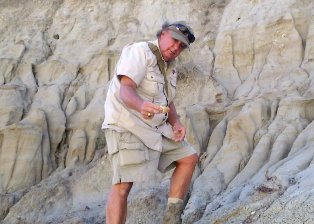 Volunteer Bob shows off a fossil he's found.