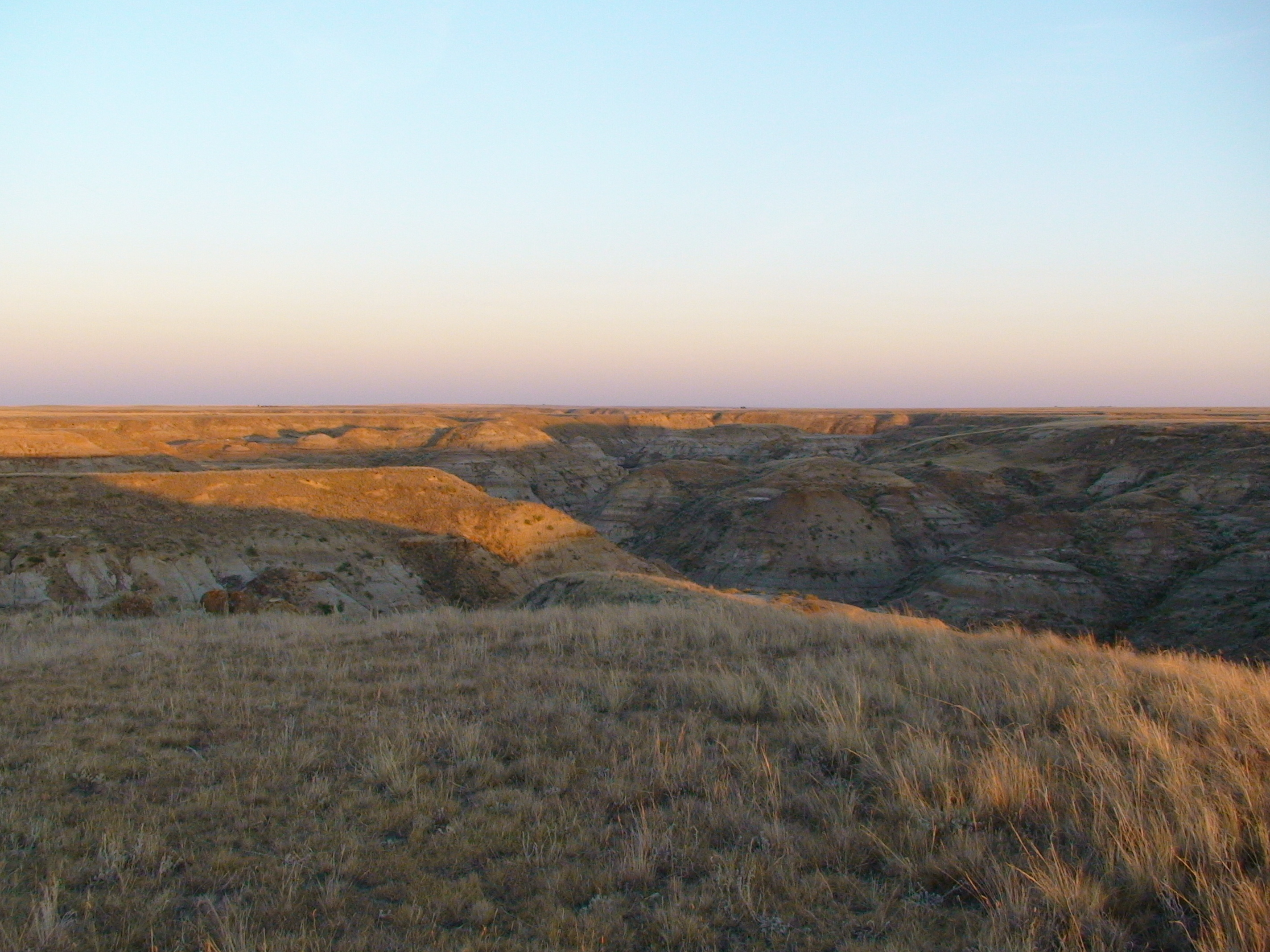 Looking into the coulee at sunset.