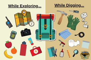 Items to bring while exploring and while digging