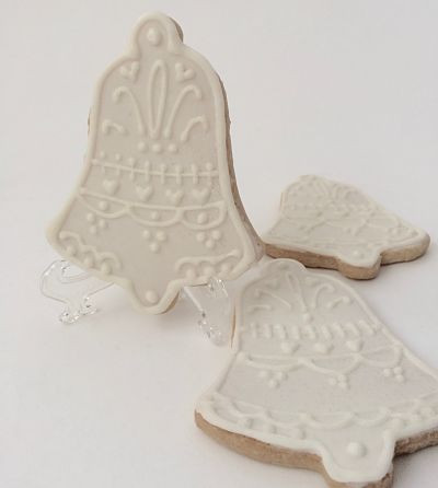 White Christmas bell cookies