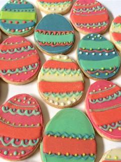 Easter egg shaped sugar cookies