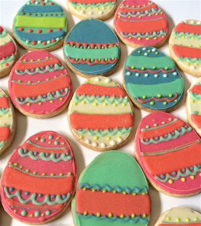 Easter egg shaped sugar cookies