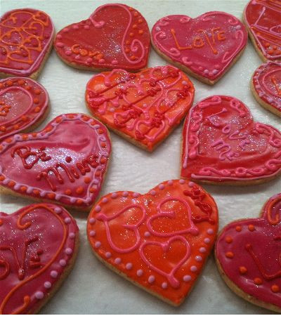 Hand decorated heart cookies