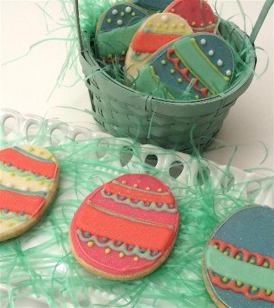 Easter egg cookies in basket