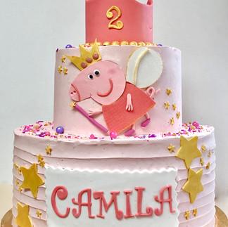 Pepa Pig birthday cake in pink
